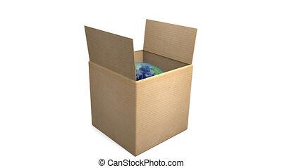 carton, zoom, la terre, boîte