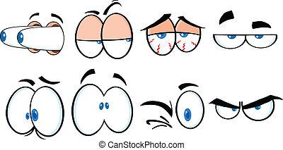 cartone animato, 2, collezione, occhi