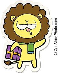 cartone animato, adesivo, leone, regalo, stanco