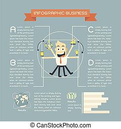 cartone animato, affari, infographics