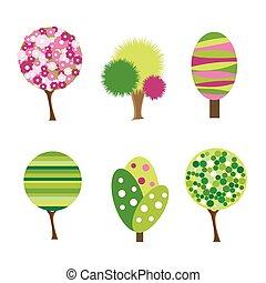 cartone animato, albero, icone