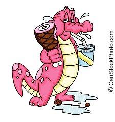 cartone animato, alligatore, cibo mangia