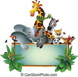 cartone animato, animale, africano, selvatico