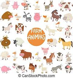 cartone animato, animale, caratteri, grande, set