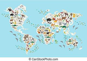 cartone animato, animale, mappa mondo, per, bambini, e, bambini, animali, da, tutto, sopra, mondo, bianco, continenti, e, isole, su, sfondo blu, di, oceano, e, sea., vettore