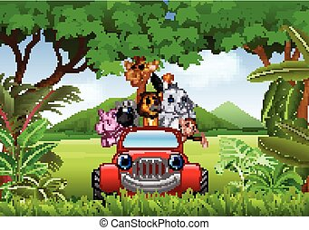 cartone animato, animali, africa, automobile