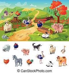 cartone animato, animali fattoria, illustrazione