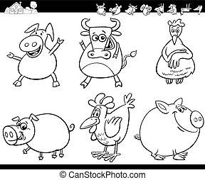 cartone animato, animali fattoria, libro, coloritura, set
