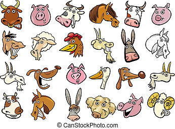 cartone animato, animali fattoria, teste, enorme, set