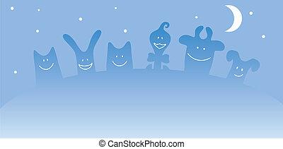 cartone animato, animali fattoria