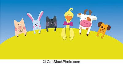cartone animato, animali, scheda, fattoria