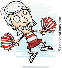 cartone animato, anziano, cheerleader, saltare