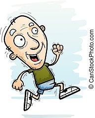 cartone animato, anziano, correndo