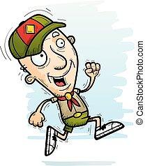 cartone animato, anziano, esploratore, correndo
