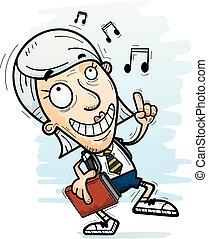 cartone animato, anziano, studente, ballo