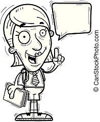 cartone animato, anziano, studente, parlare