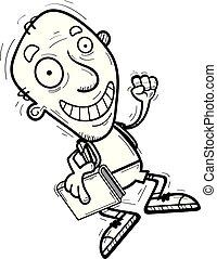 cartone animato, anziano, studente, saltare