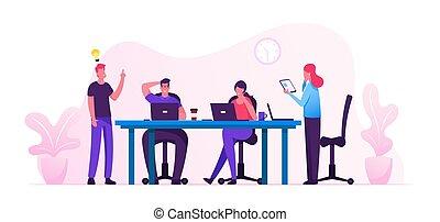 cartone animato, appartamento, sviluppo, tablet., project., concept., illustrazione, riuscito, brainstorm, possedere, lavorare insieme, persone, spazio, squadra, idea, creativo, ufficio, vettore, associazione, laptops, coworking