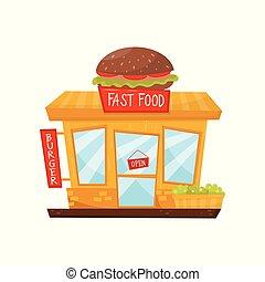 cartone animato, appartamento, vettore, icona, di, fast food, restaurant., negozio, con, grande, hamburger, su, tetto, cartello, porta vetro, e, windows., facciata, di, città, costruzione