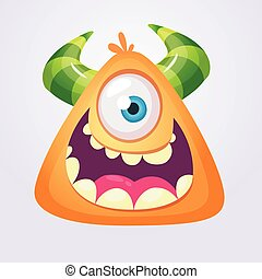 cartone animato, arancia, monster., halloween, vettore, illustrazione, di, eccitato, mostro