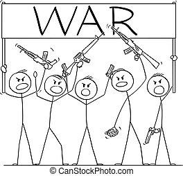 cartone animato, armato, vettore, fucili, pistole, brandire, illustrazione, persone, gruppo, presa a terra, pistole, dimostrare, guerra, o, segno, soldati