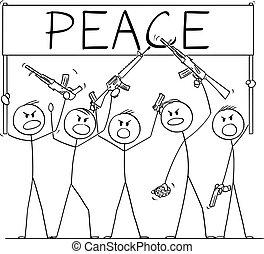 cartone animato, armato, vettore, fucili, pistole, brandire, illustrazione, persone, gruppo, presa a terra, pace, pistole, dimostrare, o, segno, soldati