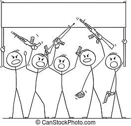 cartone animato, armato, vettore, fucili, pistole, brandire, illustrazione, persone, gruppo, presa a terra, vuoto, pistole, dimostrare, o, segno, soldati