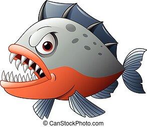 cartone animato, arrabbiato, piranha
