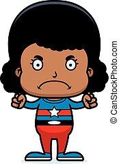 cartone animato, arrabbiato, superhero, ragazza