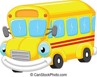 cartone animato, autobus, scuola