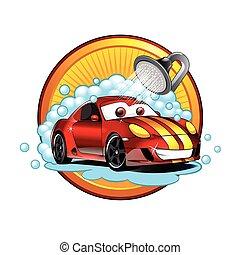 cartone animato, automobile, divertente, lavare