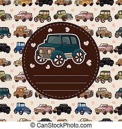cartone animato, automobile, scheda, retro