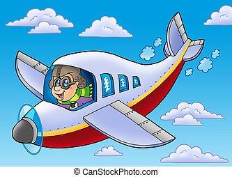 cartone animato, aviatore, su, cielo blu