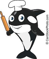 cartone animato, balena assassino, panettiere, carattere, in, cappello chef