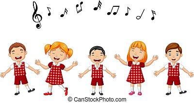 cartone animato, bambini, coro, gruppo, canto, scuola