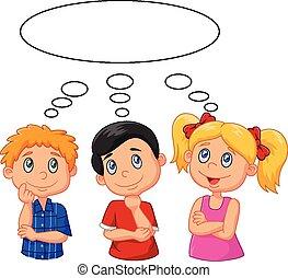 cartone animato, bambini, pensare, con, bianco, bu