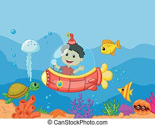 cartone animato, bambini, sottomarino