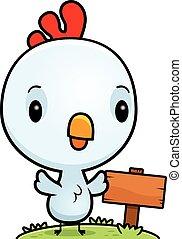 cartone animato, bambino, gallo, segno legno