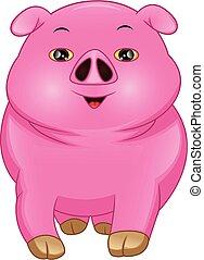 cartone animato, bambino, maiale, carino