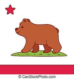 cartone animato, bandiera california, carino