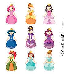 cartone animato, bello, principessa, icone, set