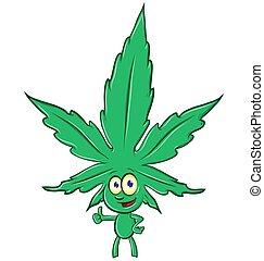 cartone animato, bianco, isolato, fondo, marijuana
