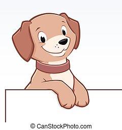 cartone animato, bordo, cane, cornice, animale