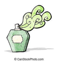 cartone animato, bottiglia, profumo