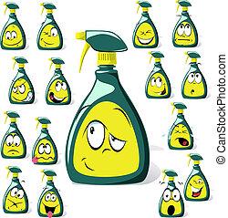 cartone animato, bottiglia, spruzzo