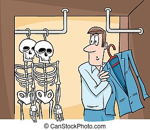 cartone animato, bugigattolo, scheletri