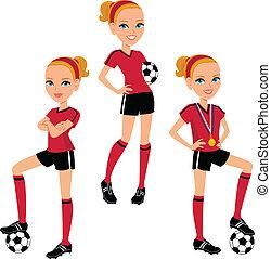cartone animato, calcio, ragazza, 3, pose
