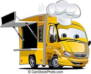 cartone animato, camion, cibo