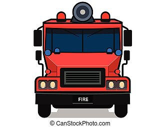 cartone animato, camion fuoco, isolato, bianco