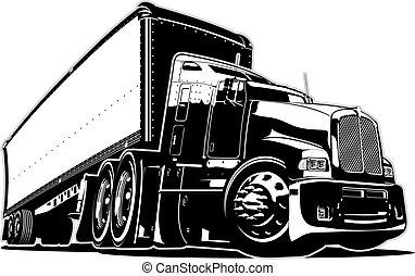 cartone animato, camion, semi
